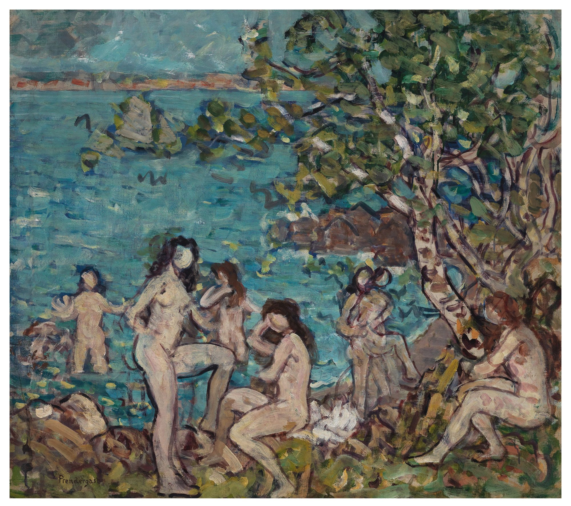 Maurice Brazil Prendergast (American, 1858-1924), Bathers by the Sea, ca. 1910-1913. Oil on canvas, 31 x 35 1/8 in. Gift of Mrs. Charles Prendergast. (83.20.1)