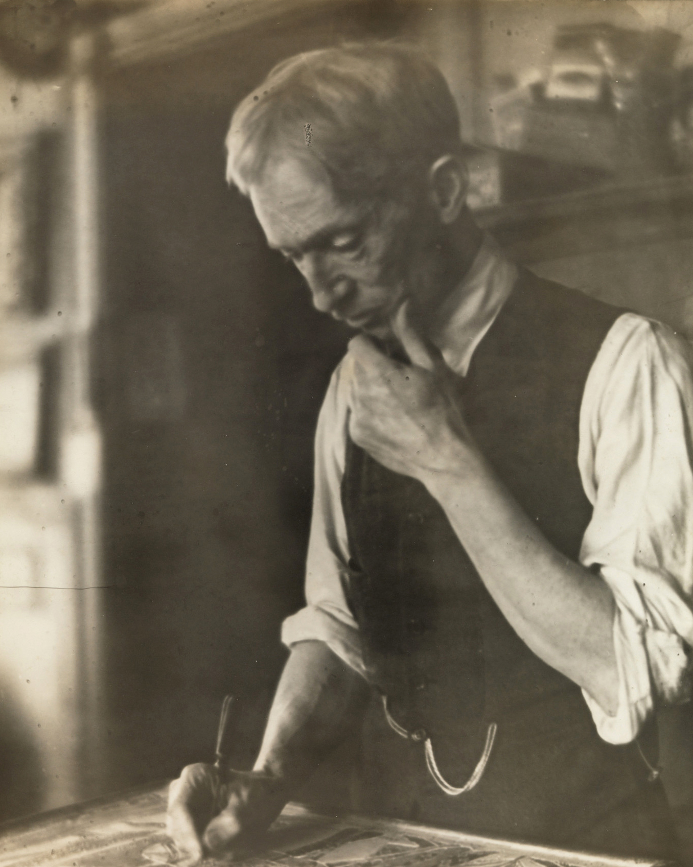 Anonymous, Charles Prendergast in studio, ca. 1919. Black and white photograph, 10 x 8 in. illiams College Museum of Art, Prendergast Archive and Study Center, Gift of Mrs. Charles Prendergast. (A.1.89)