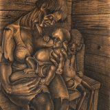 John Anansa Thomas Biggers American, 1924–2001), Mother and Children, 1947. Conte crayon and gouache on board, 31 × 23 in. Museum purchase, Karl E. Weston Memorial Fund, M.2015.19