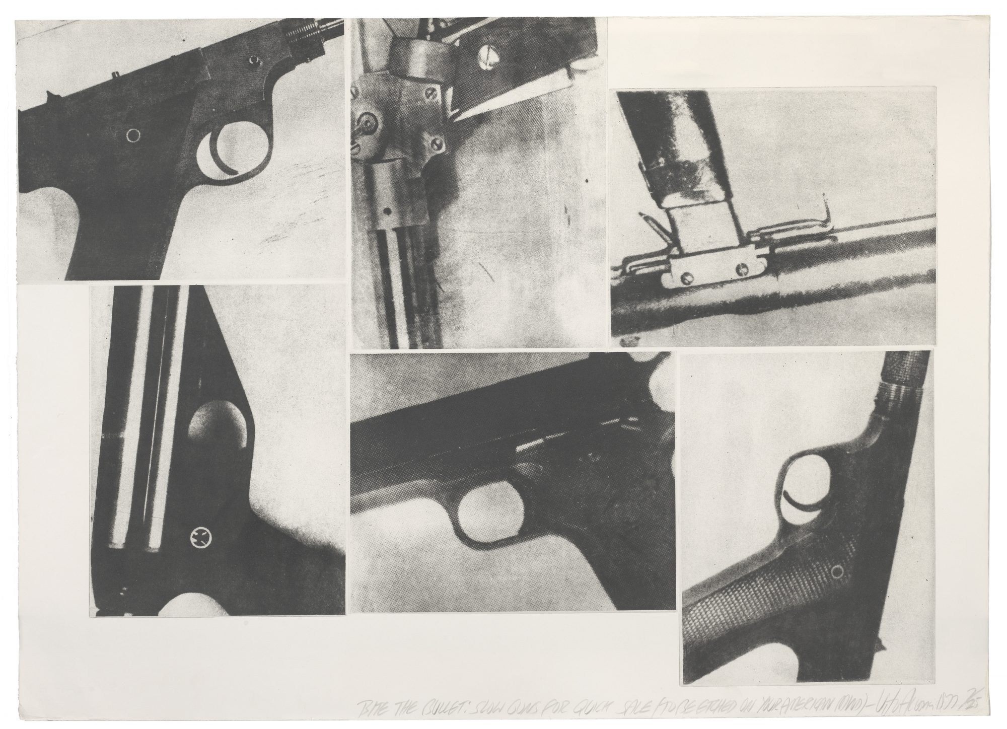Vito Acconci (American, b. 1940) Bite the Bullet. Slow guns for Quick Sale/To be etched on your American Mind, 1977. Photo lithograph on paper, 29 13/16 x 41 7/8 in. Gift of Harvey R. Plonsker '61, Madeleine P. Plonsker and Edward M. Plonsker '86, M.2007.21