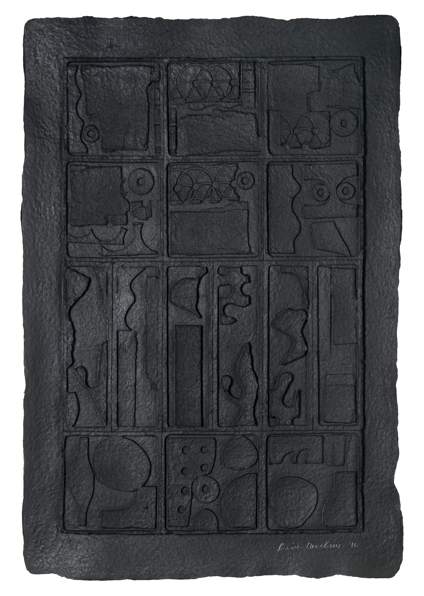 Louise Nevelson (American, 1899–1988) Moon Garden, 1976. Black cast paper, 32 x 21 1/2 in. Gift of Michael Dively, Class of 1961, 94.2.1