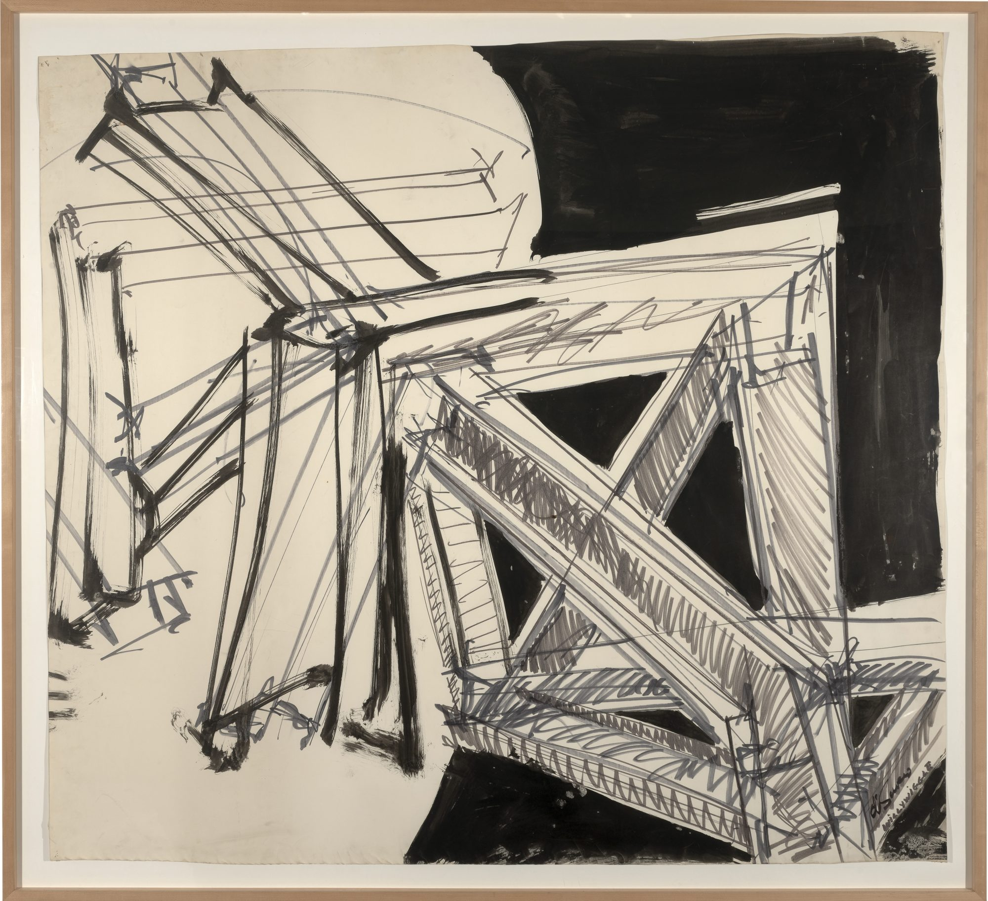 Mark Di Suvero (American, b. 1933) Willy Wiggle (Eindhoven), 1971. Black wash on paper. 57 3/8 x 53 3/8 in. Gift of Susan W. and Stephen D. Paine, Class of 1954, 94.25.1