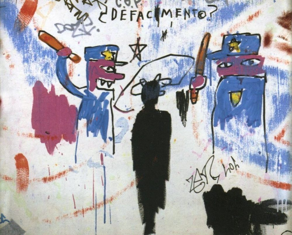 The Death of Michael Stewart, 1983, Basquiat, acrylic and marker on wood, 63.5x77.5cm, Collection of Nina Clemente.