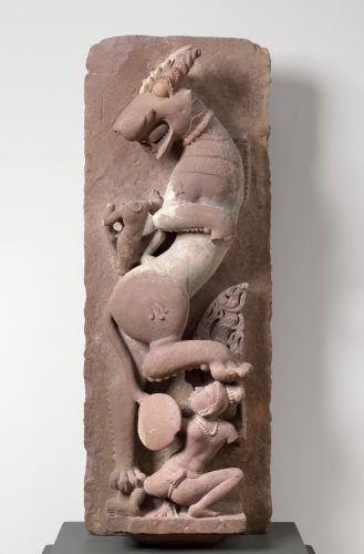 Sardula Rearing Central Indian, Khajuraho, Chandella Dynasty, 10th–11th century. Sandstone. Museum purchase, 78.4