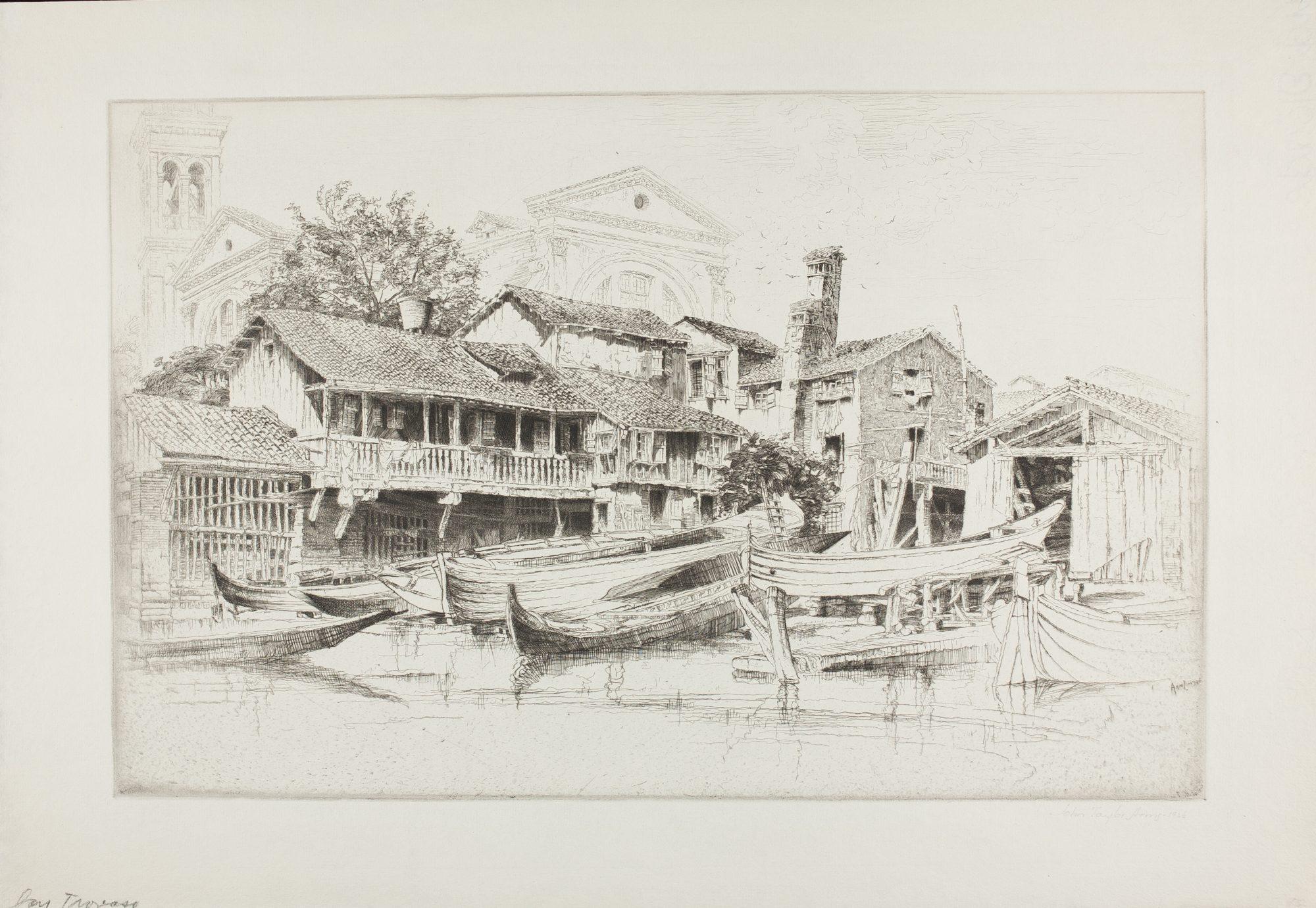 John Taylor Arms (American, 1887-1953) The Boat Builder's Yard, San Trovaso, Venice