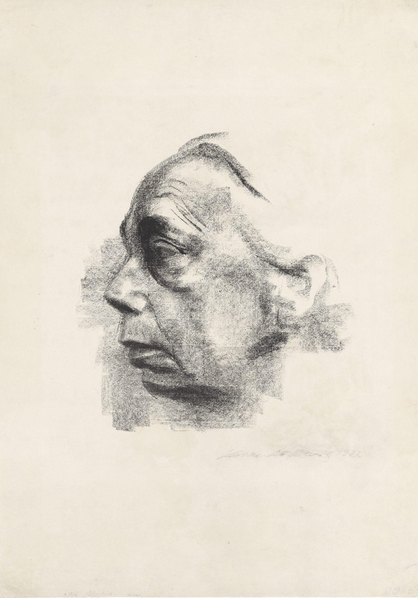 Käthe Kollwitz (German, 1867-1945) Selbstbildnis im Profil (Self-Portrait in Profile)