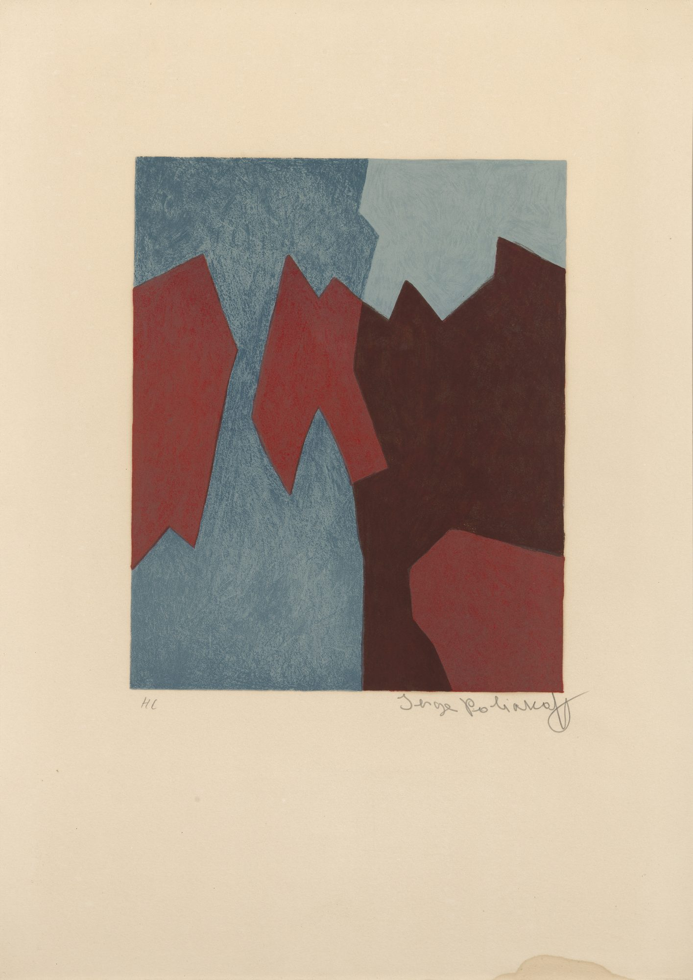 Serge Poliakoff (French, 1906-1969) Composition rouge et bleue (Composition in Red and Blue)