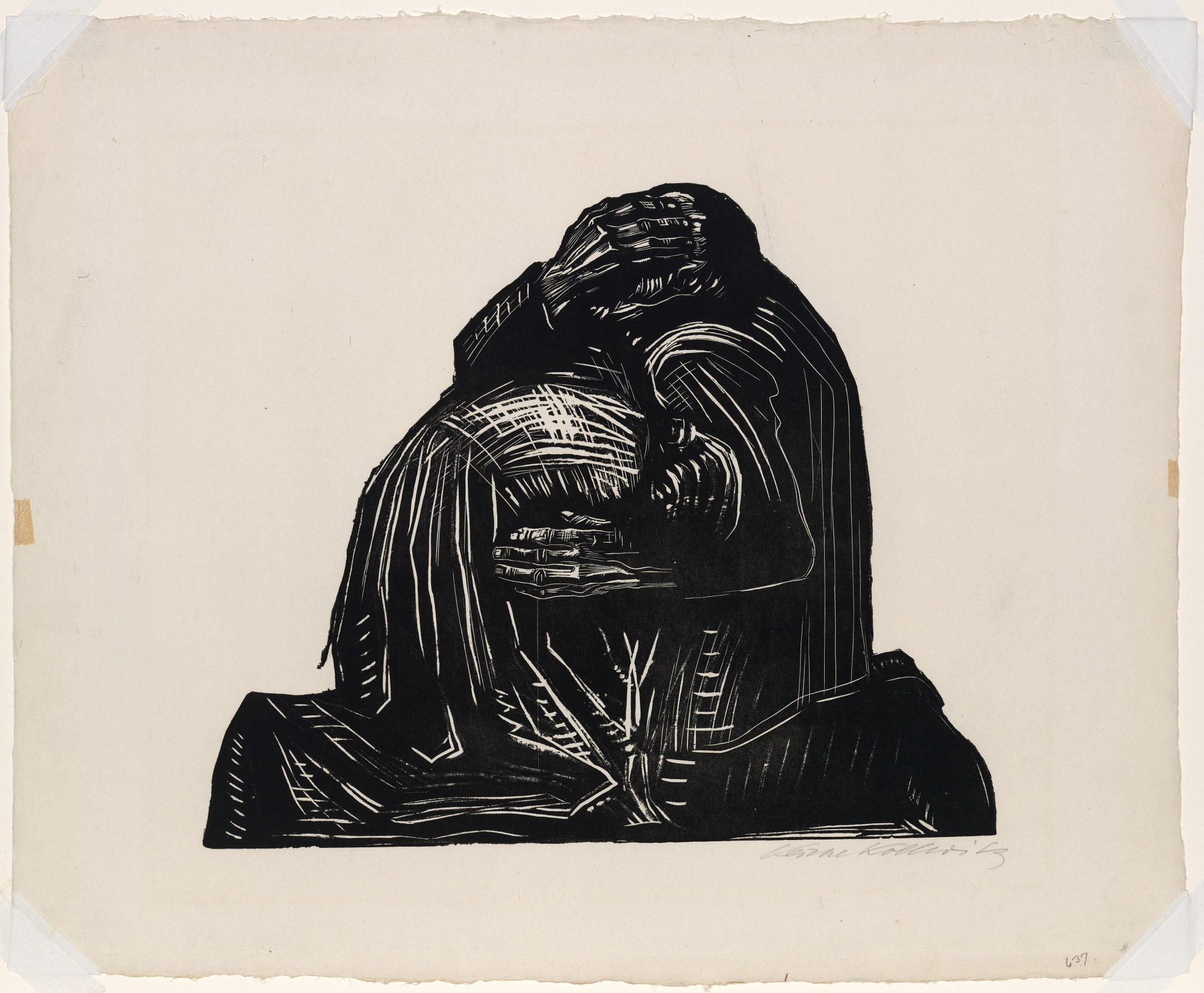 Käthe Kollwitz (German, 1867–1945) Die Eltern (The Parents) (plate 3 from the portfolio Krieg (War)). Woodcut on paper, 1921–22, published 1923, 25 3/16 x 31 5/16 in. Gift of Andrew S. Keck, Class of 1924, 38.15