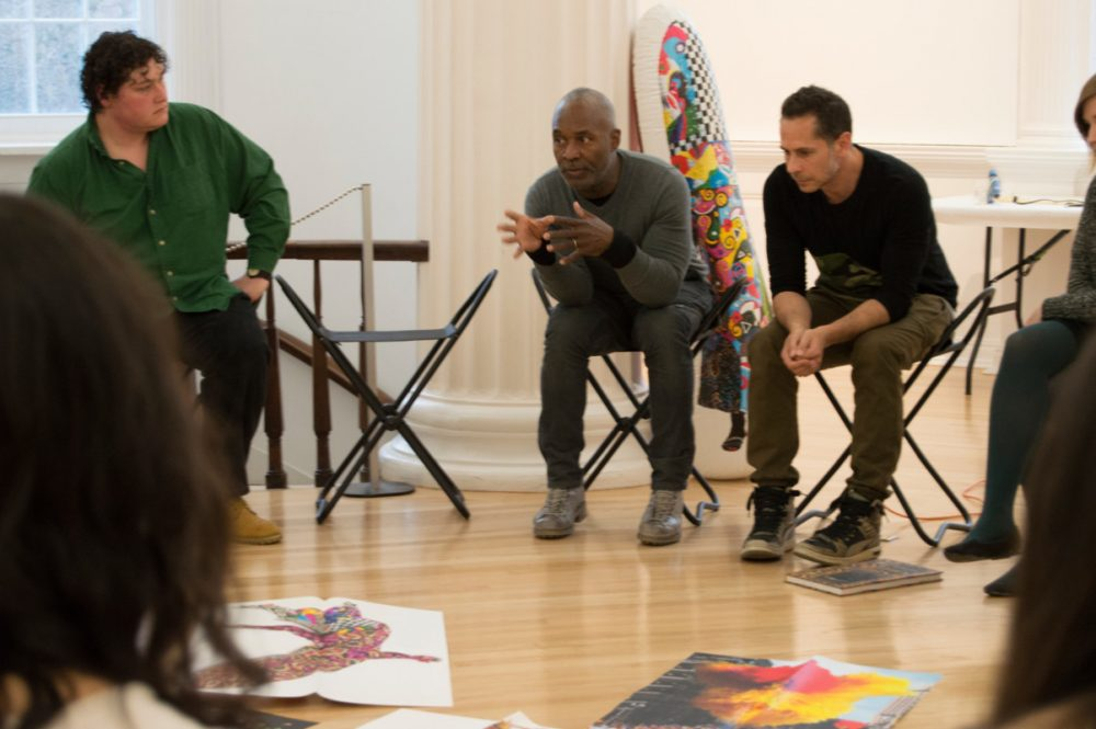 Artist Nick Cave and collaborator Bob Faust in conversation with Williams students and faculty.