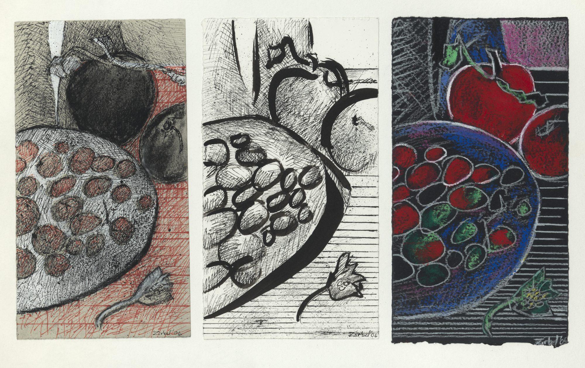 Frank Joseph Zirbel (American, b. 1947) Apple Still Life Studies (triptych)