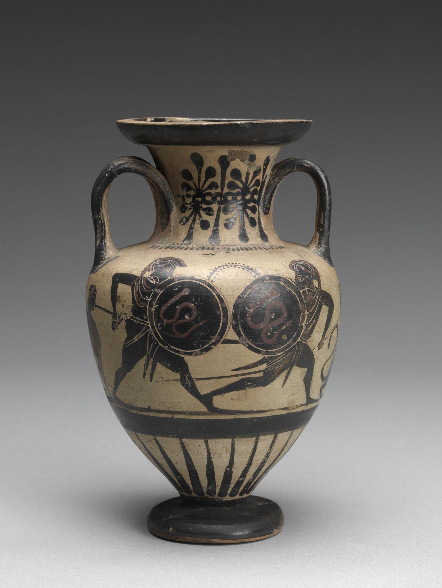Greek, Black Figure Amphora. Terracotta, 600-500 BC. Gift of Mrs. John W. Field in memory of her husband, 1887.1.40