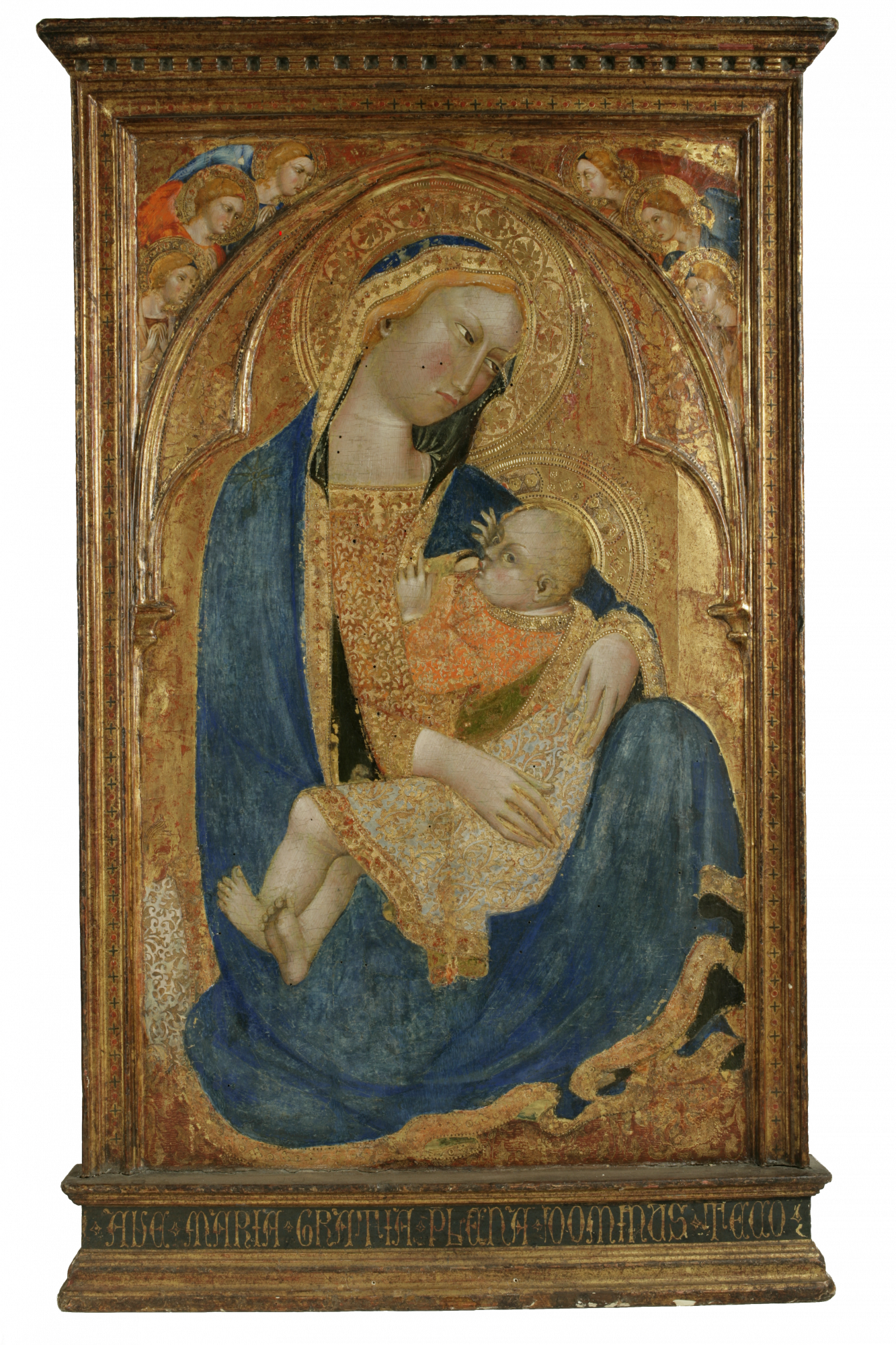 Giovanni di Nicola da Pisa (Italian, act. 1326–1358) Madonna of Humility, with Angels, 14th century. Tempura on panel. Gift of the Samuel H. Kress Foundation, 60.13