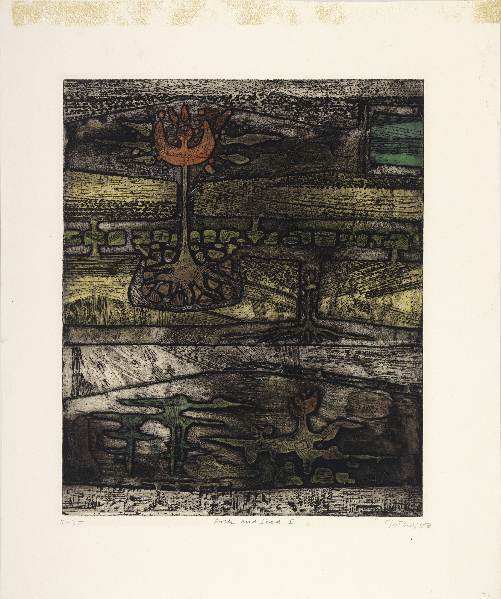 Gabor F. Peterdi (American, born Hungary, 1915–2001) Rock and Seed I, 1953. Color etching on paper. Museum purchase, IGAS fund, 61.15
