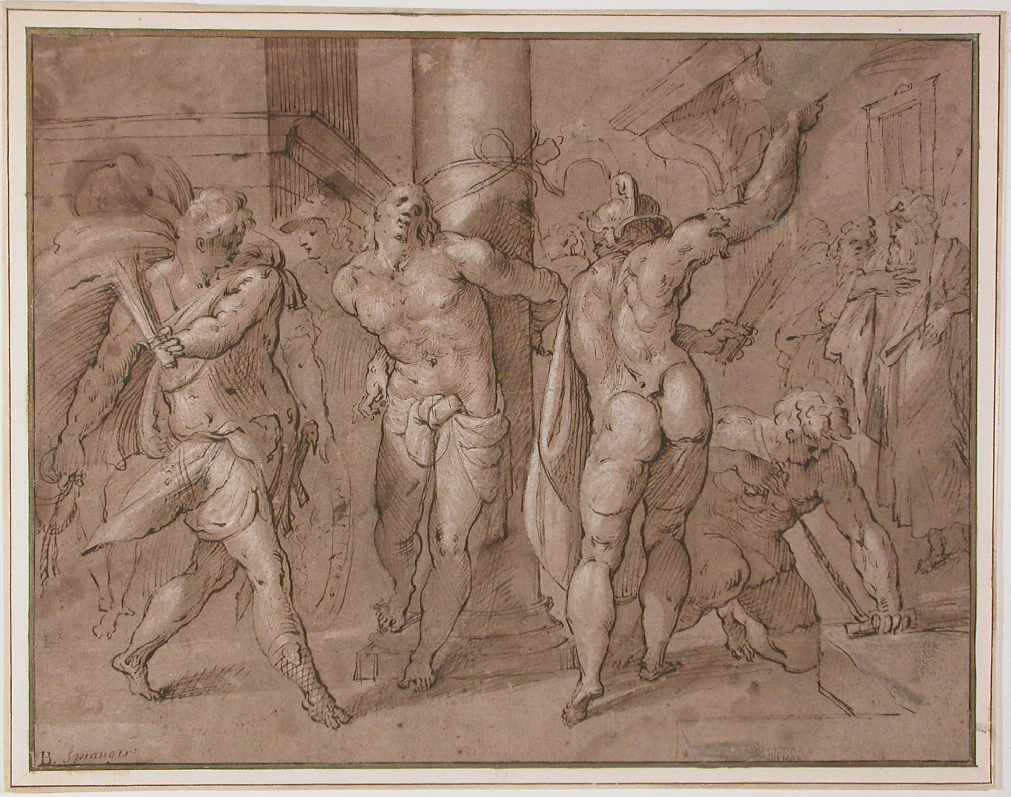 Hans Speeckaert (Flemish, 1540?–1577) Flagellation, date unknown. Pen and ink with brown wash and white heightening on paper. Museum purchase, Joseph O. Eaton Fund, 61.3