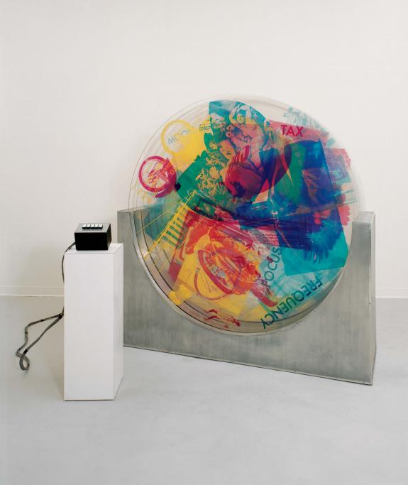 Robert Rauschenberg (American, 1925–2008) Revolver II, 1967. Silkscreen ink on five rotating Plexiglas discs in metal basewith electric motors and control box, 74.25 x 24.5 in. Robert Rauschenberg Foundation, RRF 67.003