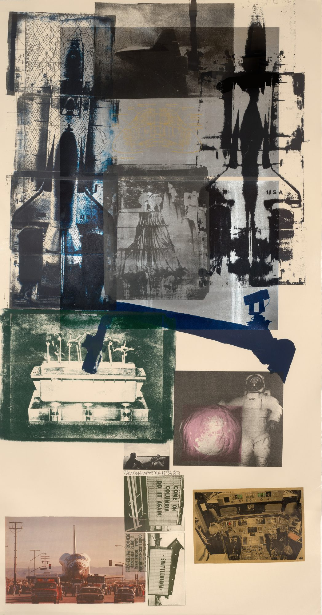 Robert Rauschenberg (American, 1925–2008) Hot Shot, 1983. Lithograph in 19 colors on Arches Cover buff paper, 81 x 42 in. Gift of Hiram Butler, MA'79 in honor of Earl A. Powell, III, Class of '68, M.2016.9