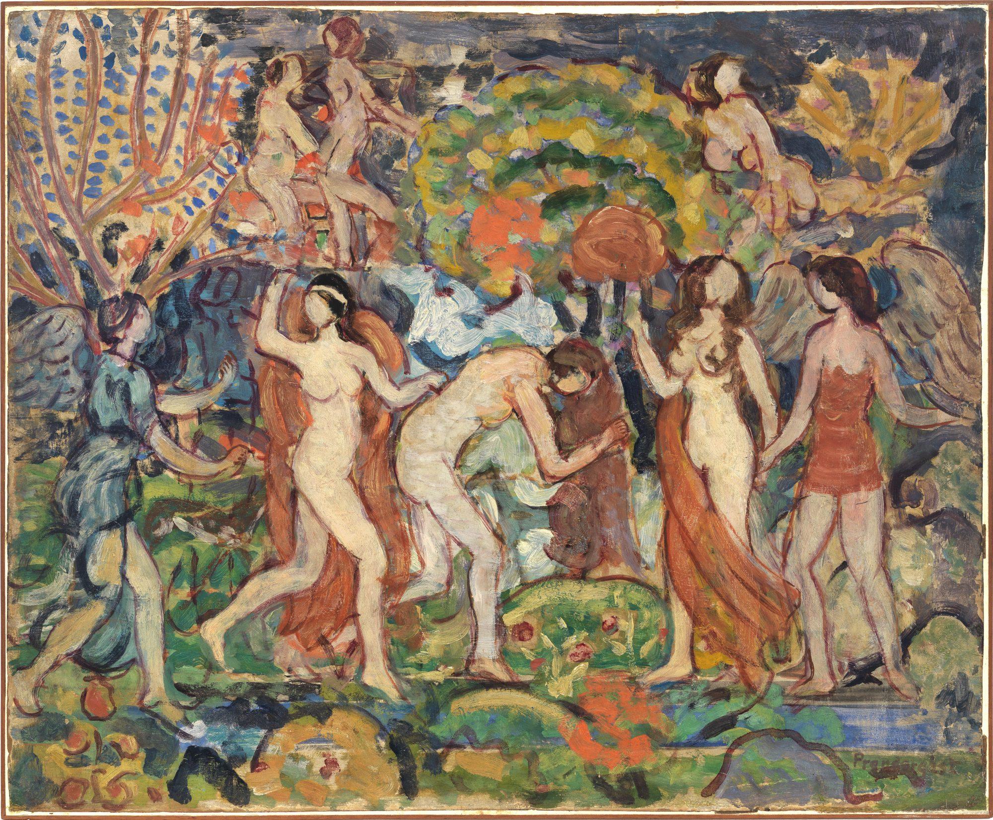 Maurice Brazil Prendergast (American, 1858-1924) Fantasy, ca. 1914-1915, Oil on paper mounted on panel, 21 15/16 x 26 in. Gift of Mrs. Charles Prendergast, 85.45
