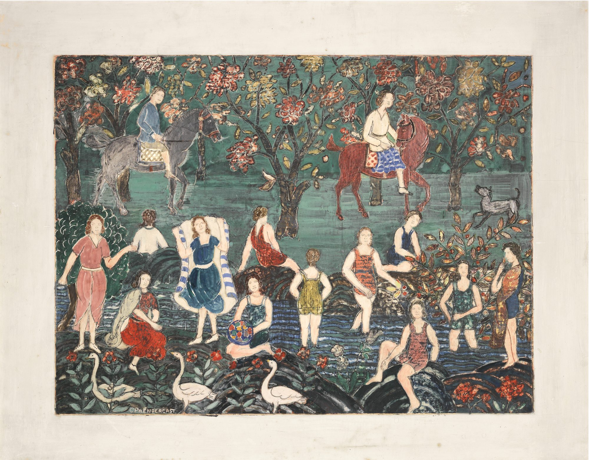 Charles Prendergast (American, 1863-1948) Bathers, c. 1940. Tempera on gessoed Masonite, 26 1/4 x 32 1/4 in. Bequest of Mrs. Charles Prendergast, 95.4.42
