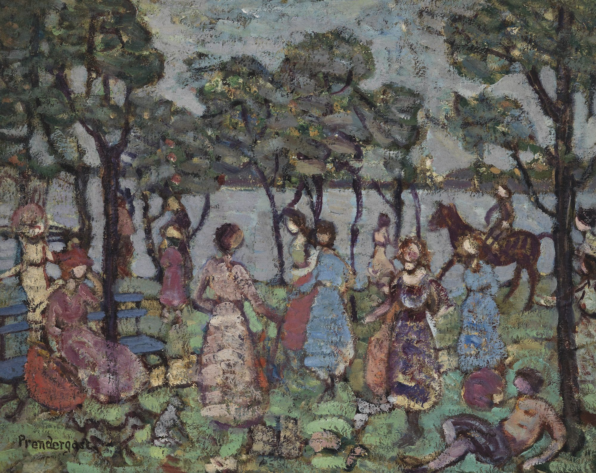 Maurice Brazil Prendergast (American, 1858–1924) Park by the Sea, c. 1914-1915. Oil on canvas. Gift of Mrs. Charles Prendergast, 86.18.39