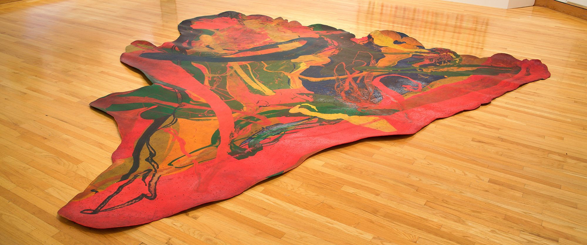 Lynda Benglis (American, b. 1941) Bounce, 1969. Poured polyurethane pigment, 161 x 188 in. Gift of Nancy and George Rosenfeld, 92.16