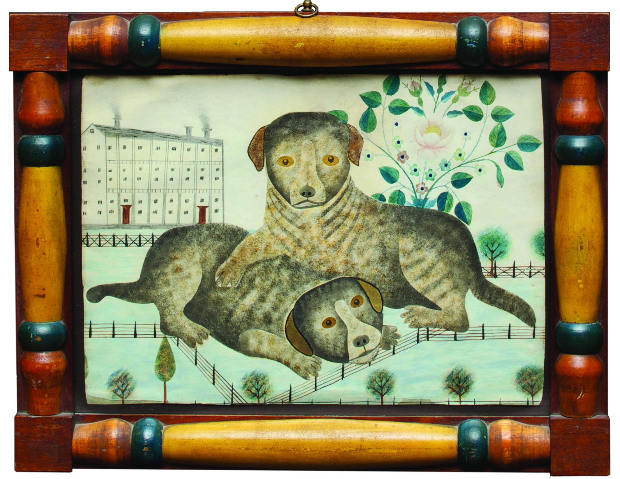Stenciled Drawing of Two Puppies, mid-19th century. Collection of Jonathan and Karin Fielding. Photo by Arthur Evans.