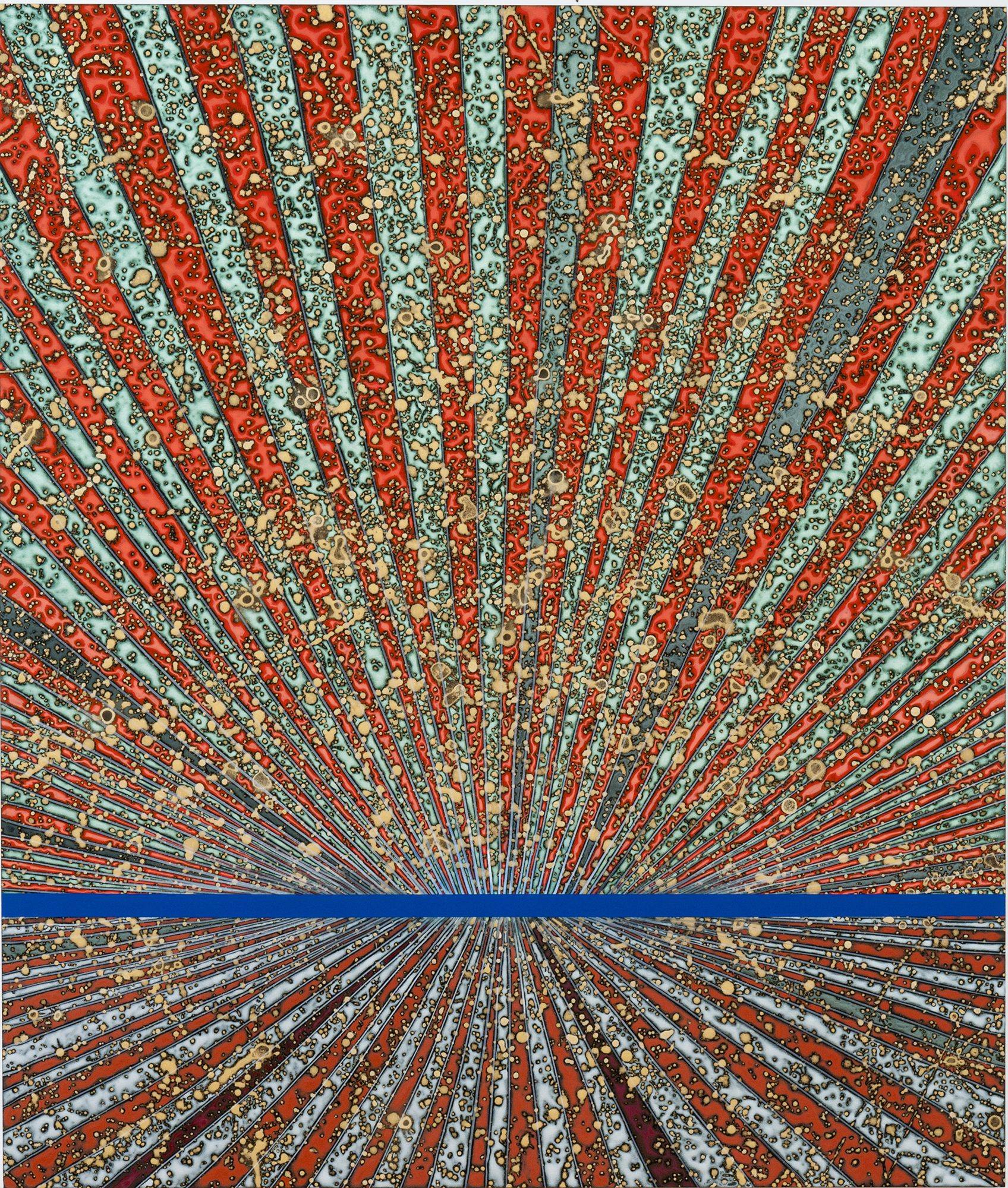 Barbara Takenaga (American, b. 1949) Tadanori (blue line), 2010. Acrylic on wood panel, 42 x 36 in. Courtesy of DC Moore Gallery, New York