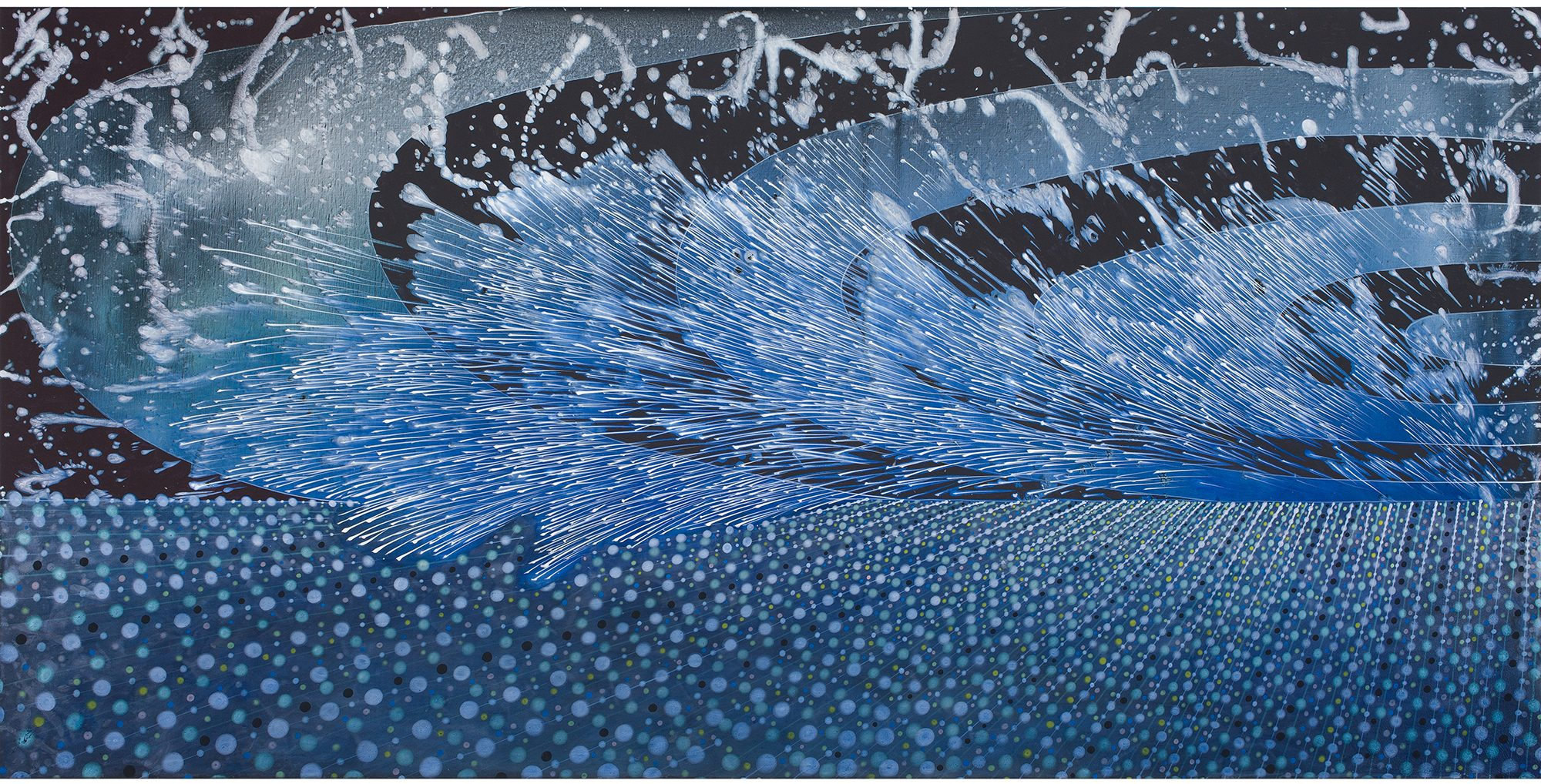 Barbara Takenaga (American, b. 1949) Two Waves, 2013. Acrylic on linen, 36 x 72 in. Private collection