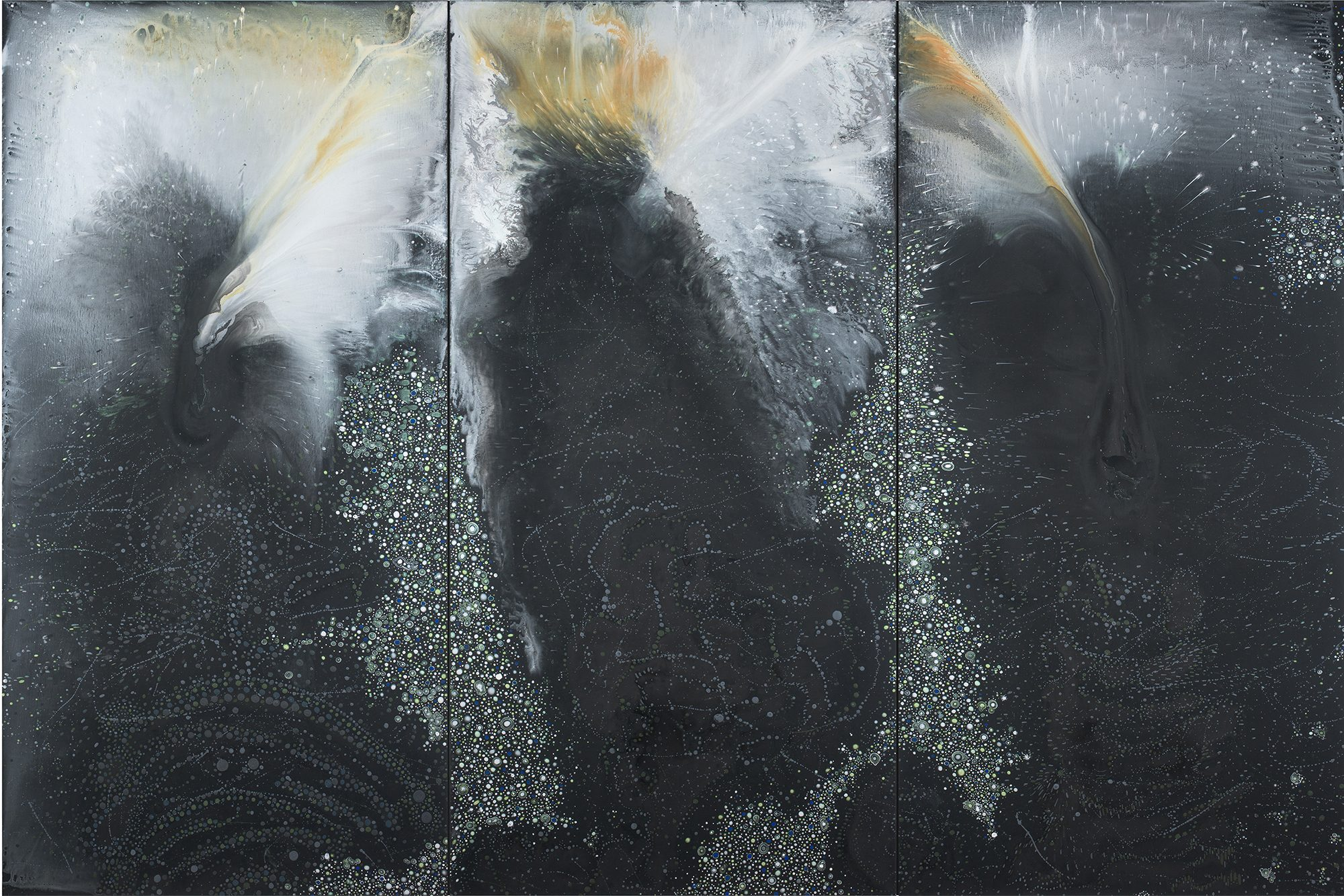 Barbara Takenaga (American, b. 1949) Black Triptych (blaze), 2016. Acrylic on linen, 72 x 108 in. Courtesy of DC Moore Gallery, New York