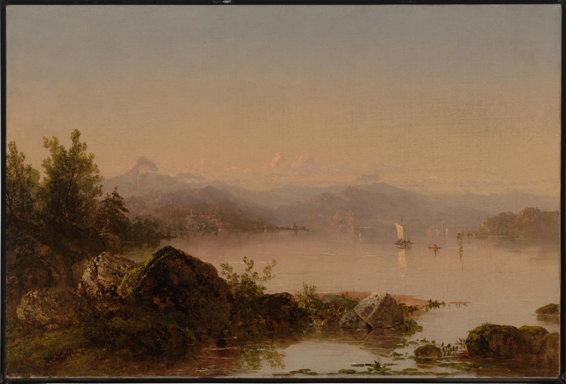 John Frederick Kensett, (American, 1816–1872), Lake George, 1853, oil on canvas. Gift of Mrs. John W. Field in memory of her husband.