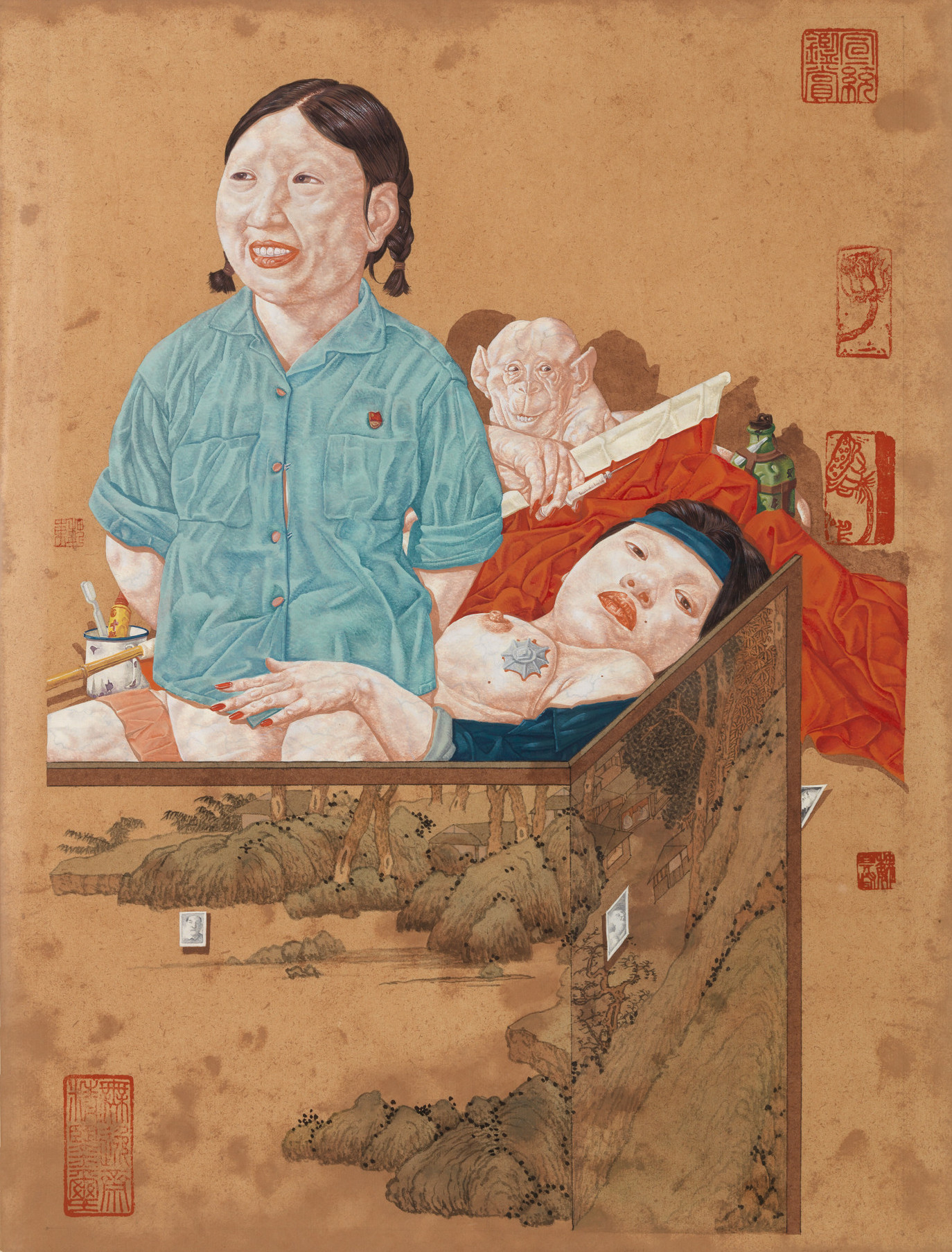 "Wei Dong, ""Neighbors-Girls with Fever,"" 1998. Ink and color on paper, 16 9/16 x 11 13/16 in. (42 x 30 cm). Gift of Red Rock Studio, Hong Kong, A Williams Alumnus. M.2007.20.24"