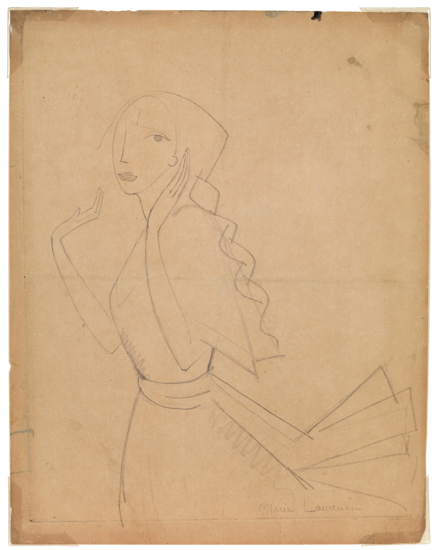 Marie Laurencin (French, 1885–1956) Étude Pour L'eau-Forte La Romance (Study for the Etching Romance), 1912. Pencil on paper, 9 1/2 x 7 3/8 in. Gift of Madeleine P. and Harvey R. Plonsker, Class of 1961, M.2015.25.6
