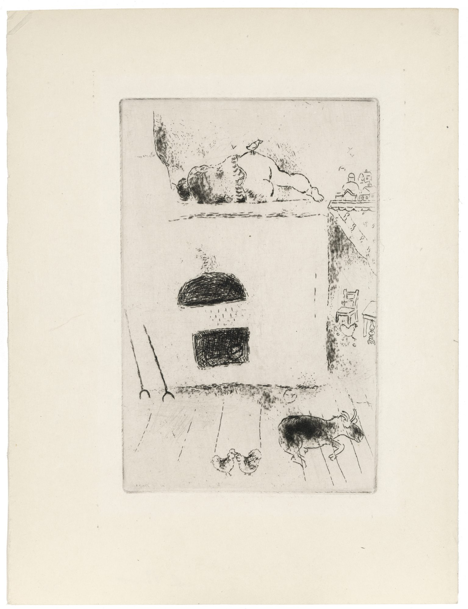 Marc Chagall (French, born Belarus, 1887–1985) Die Trägheit II (Sloth II) Plate 15 from The Seven Capital Sins, 1925. Etching, 7 1/8 x 5 in. Gift of Madeleine P. and Harvey R. Plonsker, Class of 1961, M.2016.26.5
