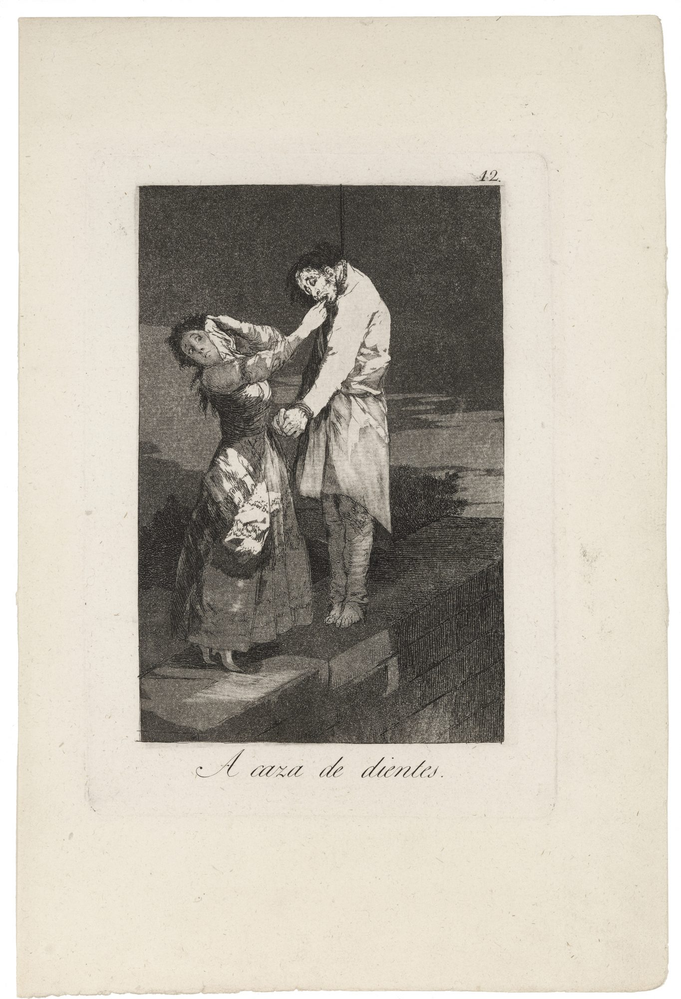Francisco José de Goya y Lucientes (Spanish, 1746-1828) A caza de dientes (Out Hunting for Teeth) (from Los Caprichos, Plate 12) Etching and aquatint, 12 x 8 in. Gift of Madeleine P. and Harvey R. Plonsker, Class of 1961, M.2013.10.13