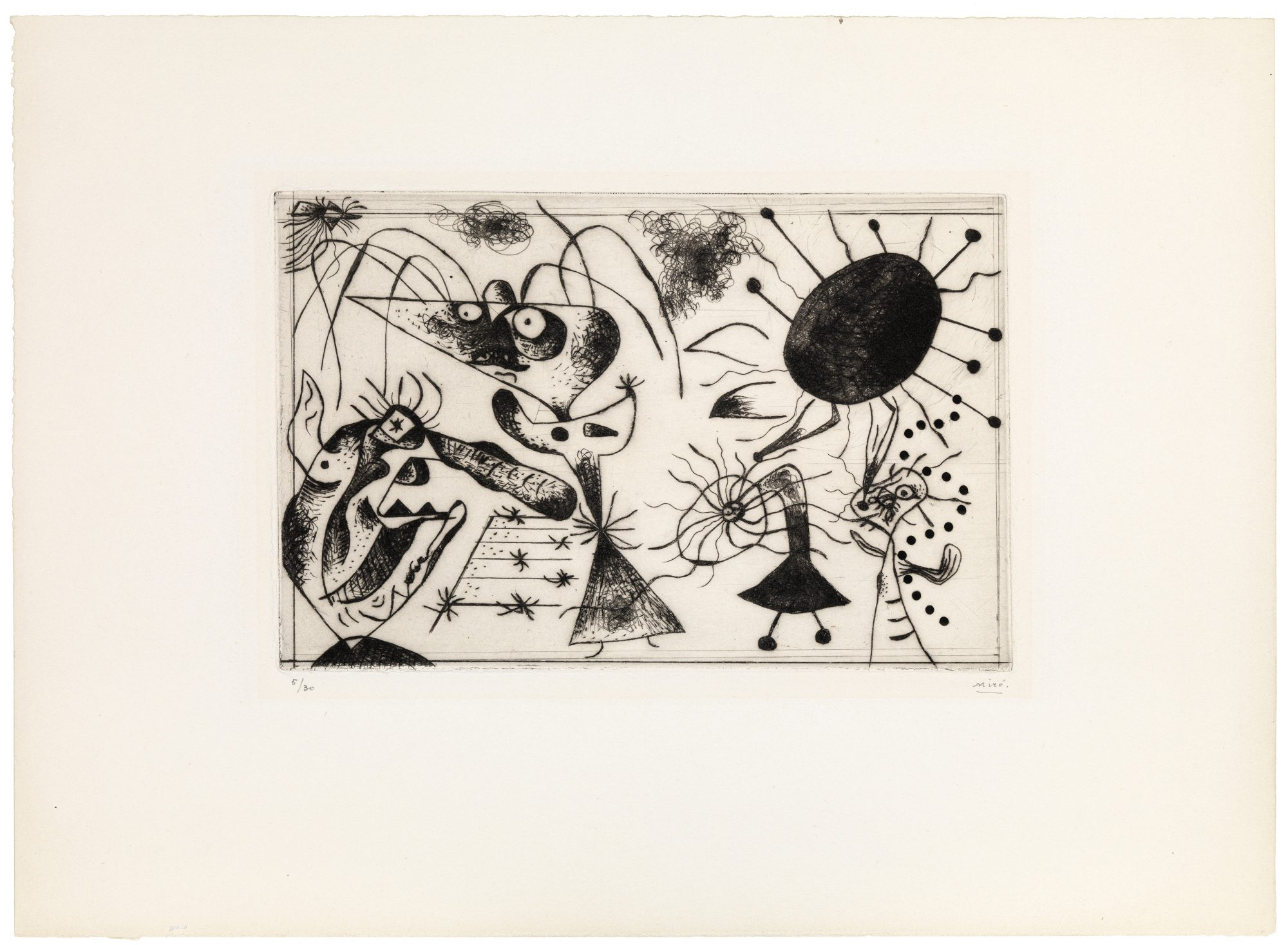 Joan Miro (Spanish, 1893–1983) Série noire et rouge (Black and Red Series), 1938. Drypoint, 7 9/16 x 11 3/16 in. Gift of Madeleine P. and Harvey R. Plonsker, Class of 1961, M.2015.25.1
