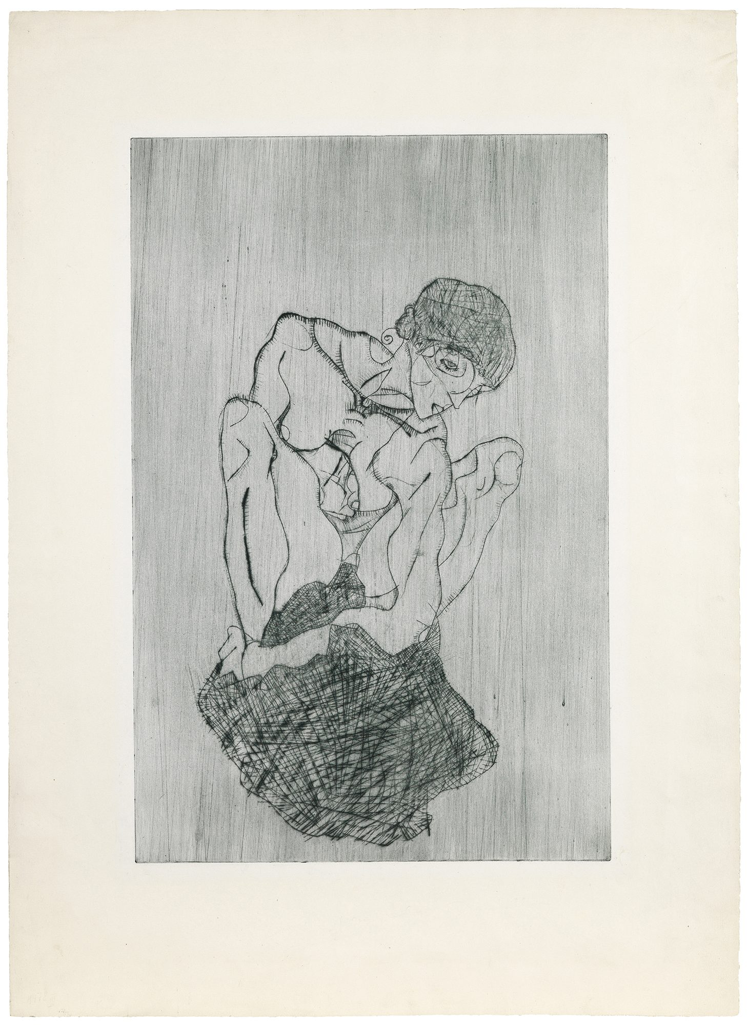 Egon Schiele (Austrian, 1890–1918) Kümmernis (Sorrow), 1914. Etching, 20 x 13 in. Gift of Madeleine P. and Harvey R. Plonsker, Class of 1961, M.2015.25.2