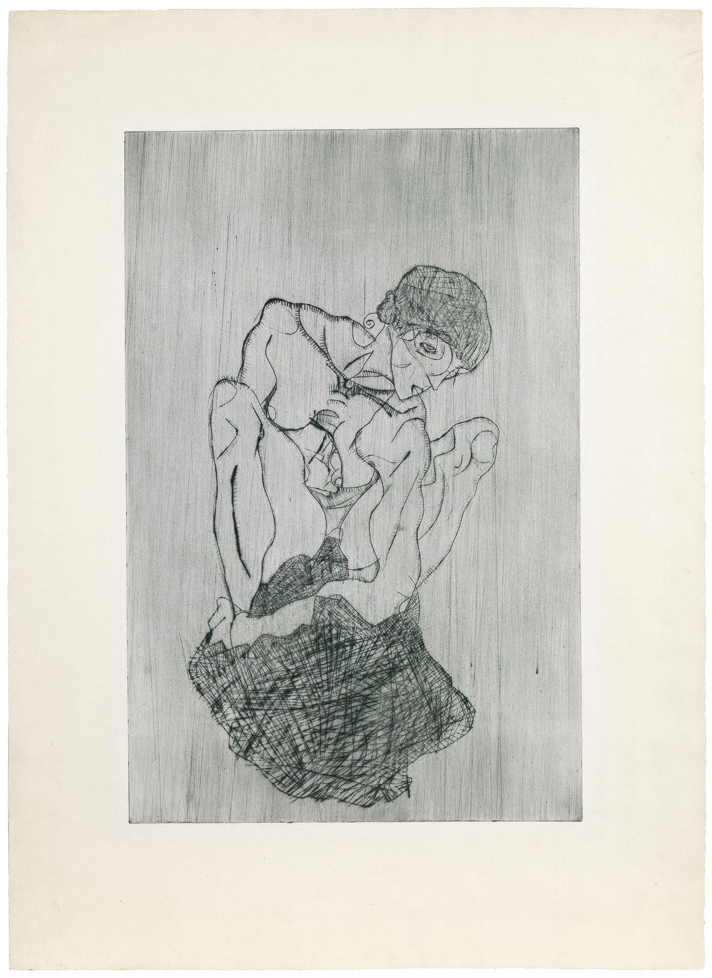 Egon Schiele (Austrian, 1890–1918) Kümmernis (Sorrow), 1914. Etching, 20 x 13 in. Gift of Madeleine P. and Harvey R. Plonsker, Class of 1961, M.2015.25.2