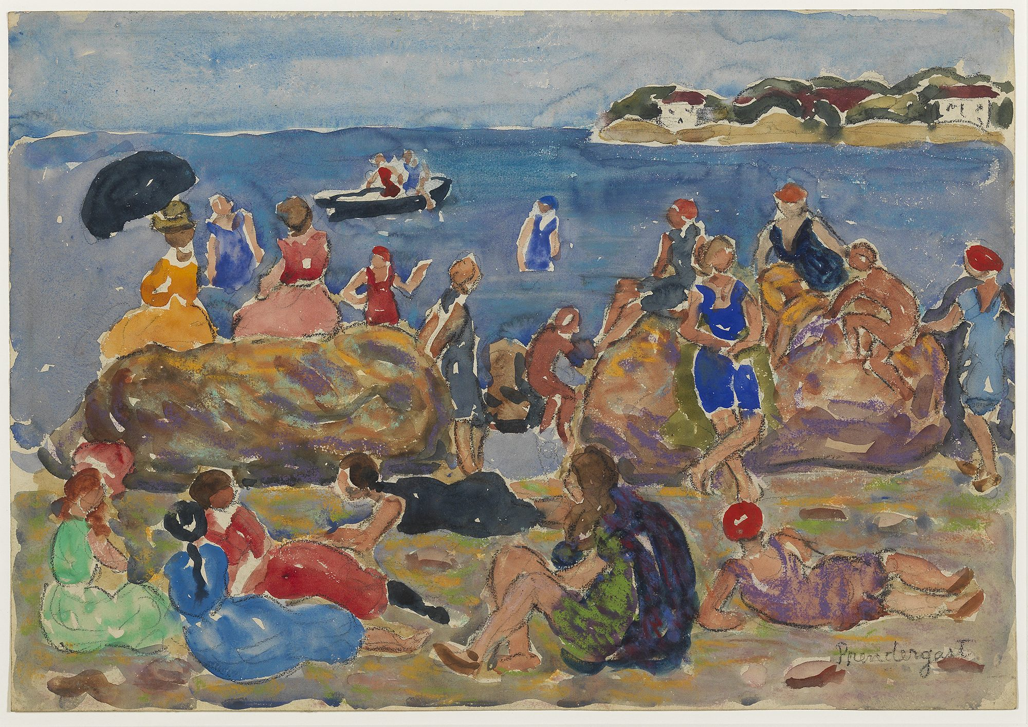 Maurice Brazil Prendergast, (American, 1858-1924), The Cove, Gloucester, Mass., ca. 1920-1923. Watercolor, pastel and charcoal on paper, 13 7/8 x 19 7/8 in. Gift of Mrs. Charles Prendergast in honor of President John W. Chandler. 85.16.1