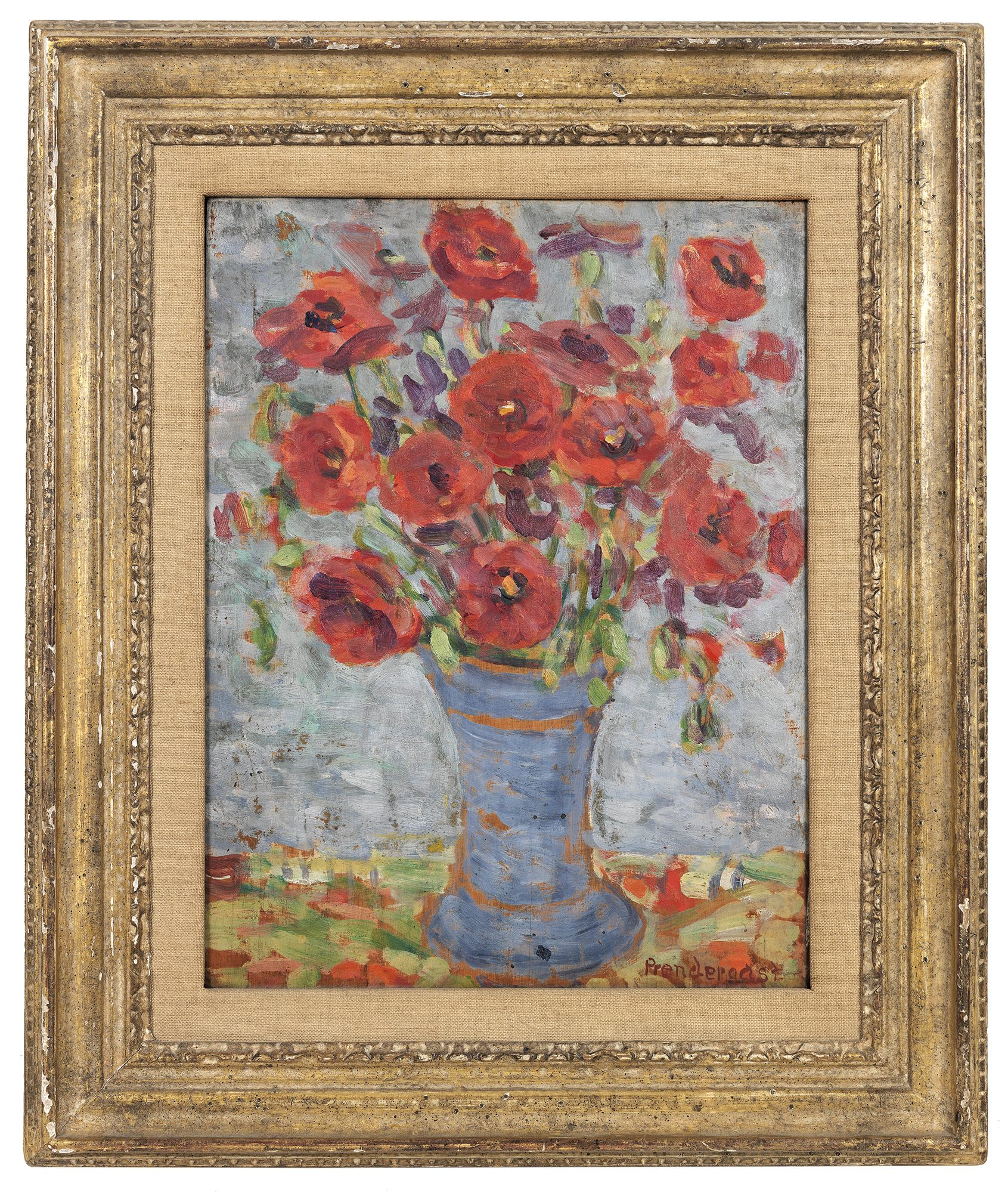 Maurice Brazil Prendergast (American, 1858-1924), Poppies in a Blue Vase, ca. 1910-1913. Oil on panel, 13 5/8 x 10 1/4 in. Gift of Mrs. Charles Prendergast. 86.18.64