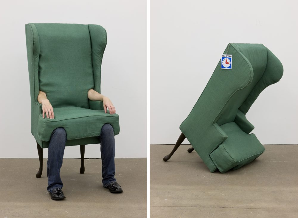 Jamie Isenstein (American, b.1975) Arm Chair, 2006. Wood, metal, nylon, raw cotton, linen, hardware, human arms, human legs, Will Return sign. Collection of Andrew Ong. Image courtesy of the Artist and Andrew Kreps Gallery, New York