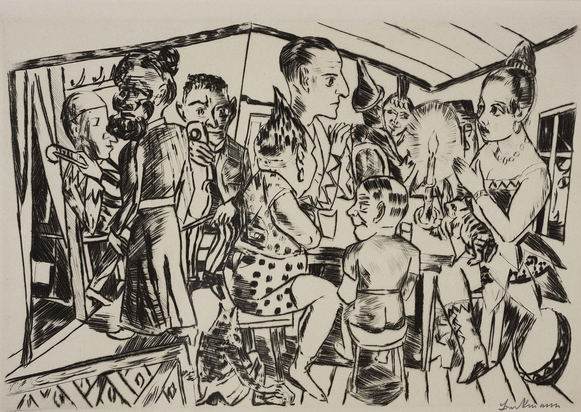 """Max Beckmann (German, 1884–1950) Hinter den Kulissen (Behind the Scenes) from the series """"Jahrmarkt"""" (""""Annual Fair""""), 1921. Drypoint on japan paper, 8 3/8 x 12 3/4 in. Partial Gift of David P. Tunick, Class of 1966 in memory of J. Kirk T. Varnedoe, Class of 1967 and Museum Purchase, Karl E. Weston Memorial Fund, M.2003.25.C"""