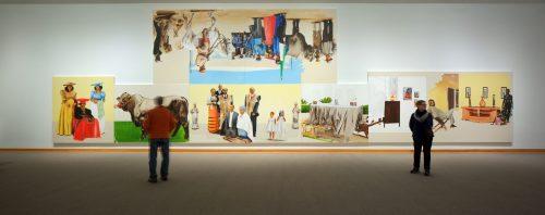 Lex and Love, 2017, Meleko Mokgosi. Installation view. Photo by Arthur Evans.