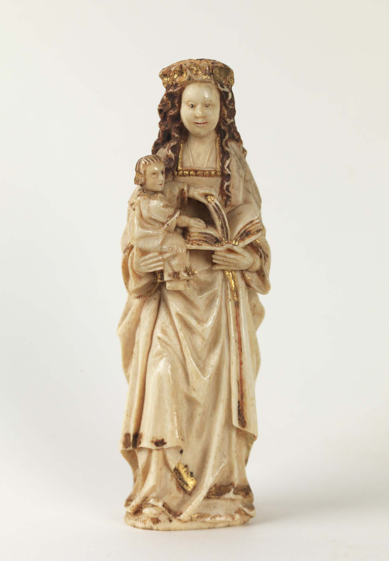 Unknown artist (Dutch). Virgin and Child, 1455–1475. Polychrome and gilt elephant ivory, 4 1/2 x 1 7/16 in. Gift of John Davis Hatch V, 78.2.4