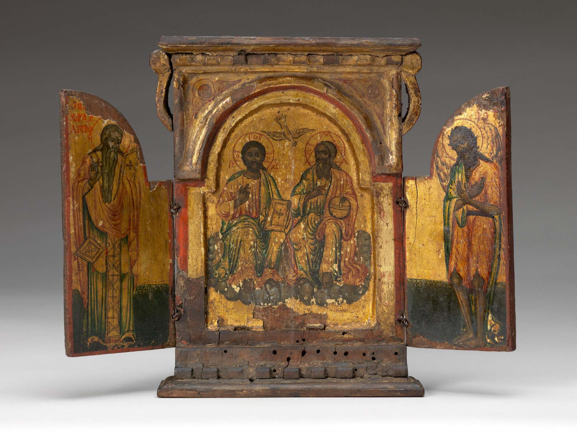 Unknown artist (Byzantine) Triptych, date unknown. Wood with polychrome and gilt, 8 1/4 x 10 1/2 x 1 1/4 in. Gift of Emerson Swift, 73.61.G