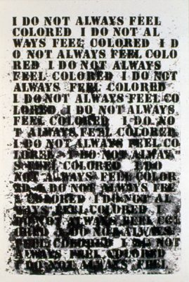 Glenn Ligon (American b. 1960), Untitled, 1992. Softground etching, aquatint, spitbite, sugarlift on paper, 25 x 17 1/4 in. Museum purchase, Kathryn Hurd Fund. M.2001.10.D