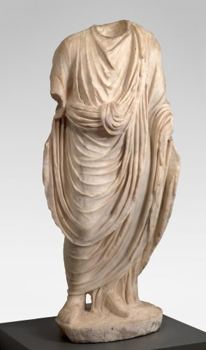 Unknown (Roman) Male figure draped in a toga, 10–50 CE. Marble, 38 3/16 x 18 11/16 x 9 13/16 in. Gift of the son and daughters of Charles Bolles Bolles-Rogers, Class of 1907: Frederick Van D. Rogers, Mary Rogers Savage, and Nancy Rogers Pierson, 76.40