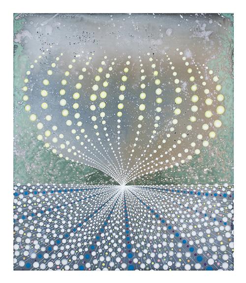 Barbara Takenaga, Sphere/Horizon, 2012. Acrylic on linen. Collection of David and Ashley Kramer.