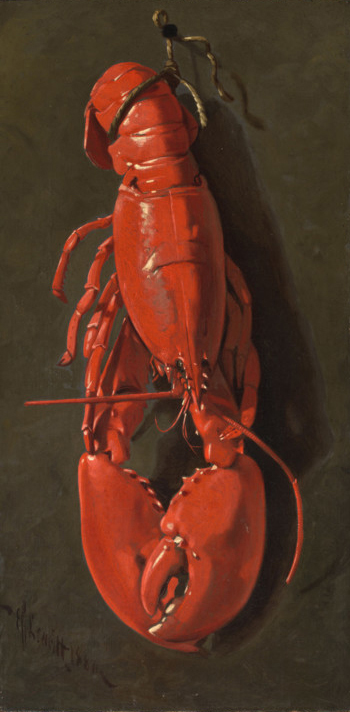 Edward Chalmers Leavitt (American ; 1842-1904), The Red Lobster, 1880, oil on canvas,Dims image: 21 7/8 x 11 in. (55.5 x 28 cm) frame: 29 1/8 x 18 7/8 in. (74 x 48 cm), On extended loan from Mrs. Pieter Whitney Fosburgh