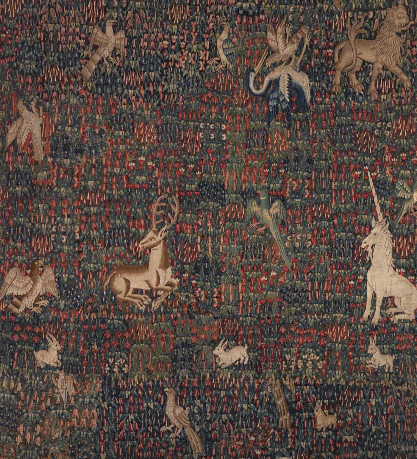 AnonymAnonymous (French), Tapestry from Chateau de Corances, Early 16th Century, Woold, Dims Overall: 94 3/4 x 88 7/16 in. (240.6 x 224.7 cm), Gift of Miss Lois Clarke 64.11ous (French), Tapestry, Early 16th Century