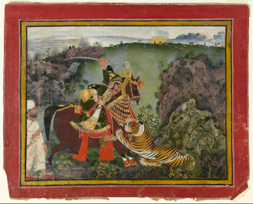 Rajasthan ,Rajput, Rawat Ragho Das of Devgarh on a Tiger Hunt, c. 1776-1786, watercolor, Dims 12 1/16 x 14 15/16 in. (30.6 x 38 cm), Bequest of Mrs. Horace W. Frost 91.15.11