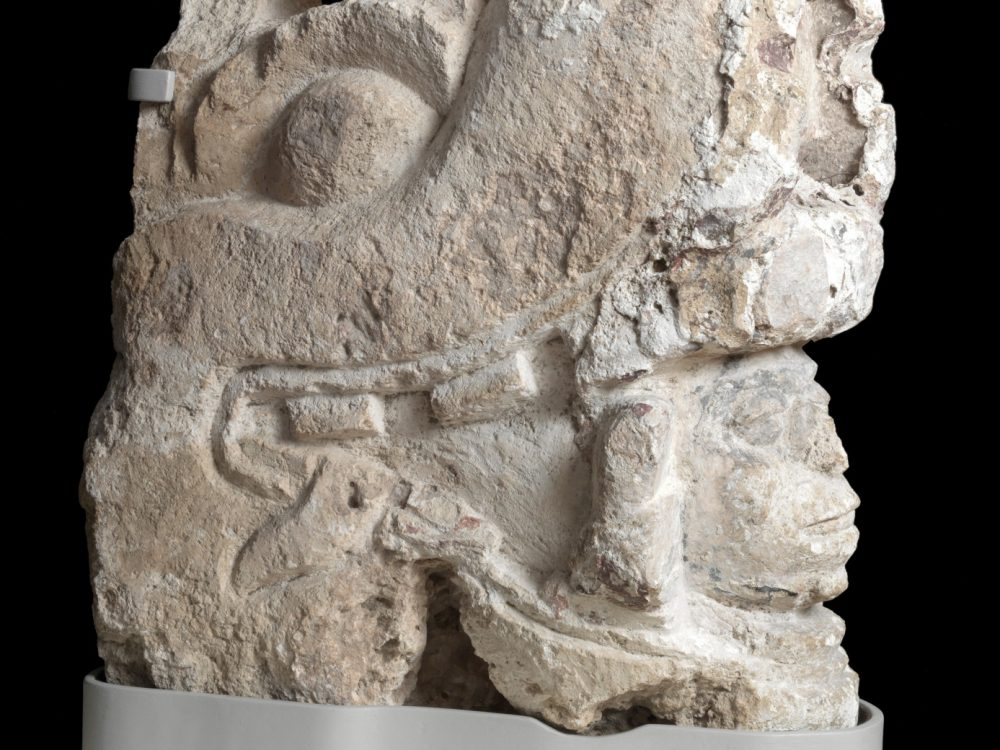 Mayan ,Belize ,Corozal corbel | sculpture, Late Classic, 600-900 CE, limestone coated with stucco with traces of blue and red polychrome Overall: 23 1/4 x 8 1/2 x 18 in. (59.1 x 21.6 x 45.7 cm) 1870.1.2